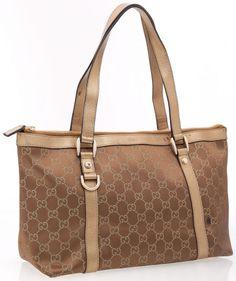 Gucci Bronze Metallic Leather and Classic Monogram GG Fabric Tote