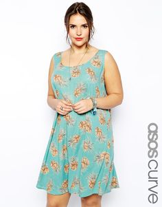 ASOS CURVE Exclusive Swing Dress In Pineapple Print created by #ShoppingIS