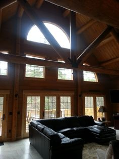Wall of glass in your log home to enjoy the view. Next At Home, Sitting Area, Log Homes, Great Rooms, House Design, Cabin, House Styles, Glass, Interior