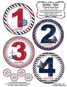 Monthly Milestone Baby Stickers Nautical Instant Download DIY Printable BONUS Just Born, 1-3 Weeks and Reminder Calendar Stickers LDD-008 on Etsy, $5.00