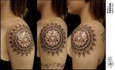 Kel Tait Tattoo   Melbourne Australia - Triforce Shoulder Cap Mandala for Lisa