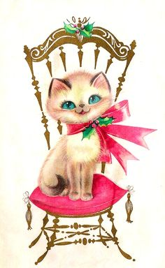 christmas kitten in chair (vintage illustration) Vintage Christmas Images, Retro Christmas, Vintage Holiday, Christmas Pictures, Christmas Greetings, Xmas, Green Christmas, Vintage Valentines, Illustration Noel