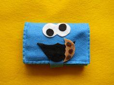 CUSTOM  ORDER for  INGRID - 12 Felt Crayon Roll Cookie Monster