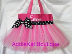 Personalized Minnie Mouse Themed Tutu Tote Bag - Perfect for Birthdays, Halloween or Party Favors. $29.00, via Etsy.