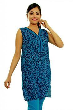 Kurti Studio Womens Excellent Blue Printed Cotton Kurti, Medium