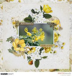 Just perfect * Kaisercraft DT * - Kaisercraft - Golden Grove Collection Kids Scrapbook, Scrapbook Designs, Scrapbook Page Layouts, Scrapbook Cards, Scrapbooking Ideas, Flowers Nature, Flowers Garden, Card Sketches, Layout Inspiration