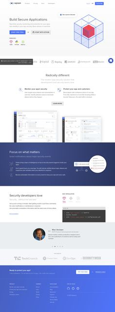 Home page for Sqreen - Web Application Protection & Monitoring for Developers - Swipefile by Flowji Web Design, Focus On What Matters, Mobile Ui Design, Ui Design Inspiration, Landing Page Design, Web Application, User Interface, Wordpress Theme, Website Designs