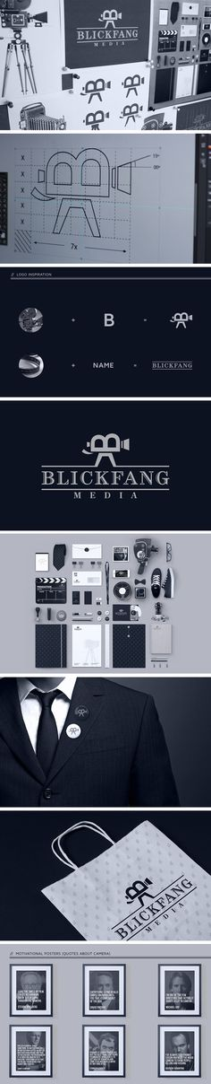 Brand Identity Design for Blickfang Media , Munich based Film Production agency by Pixelinme eb- i like how the B is included into the design which is also what the company name starts with. the bold and thick type give it a classic and tasteful branding. Brand Identity Design, Graphic Design Branding, Branding Agency, Identity Branding, Film Identity, Camera Logo, Film Camera, Film Logo, Web Design