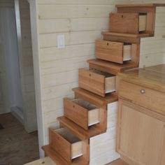 Tiny house stairs drawers combo! #TinyHouse #Storage