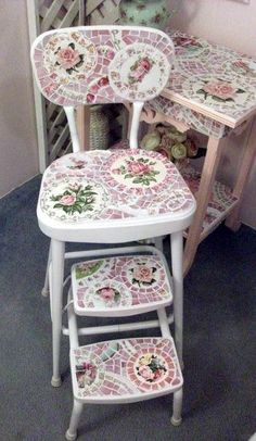 Adorable Vintage Shabby Chic Mosaic Kitchen Chair Or Step Stool By  Grindstone Mountain Mosaics SOLD