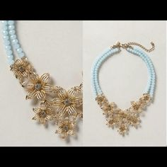 """Anthropologie Gilded Gerbera Necklace Color: Sky. 18""""L, 5"""" bib. Lobster clasp. Acrylic, metal, glass. New without Tags. Anthropologie Jewelry Necklaces"""
