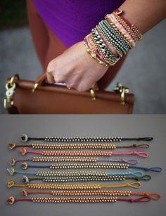 DIY Beaded Bracelets for Cool, Crafty Homemade Jewelry Projects Diy Beaded Bracelets, Diy Bracelets Easy, Trendy Bracelets, Braided Bracelets, String Bracelets, Loom Bracelets, Leather Bracelets, Ankle Bracelets, Diy Tresses