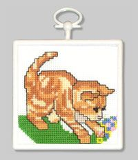 "Kitty 2.89"". Counted Cross Stitch Kit contains 18- count Aida Fabric, 6-ply cotton floss, needle, chart, frame and easy-to-follow instructio..."