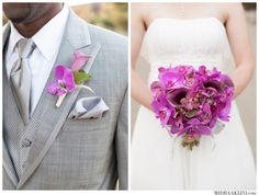 purple orchid wedding bouquet  Purple and grey wedding colors  San Francisco Shakespeare GardenWedding