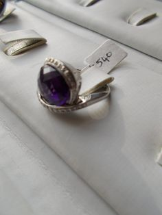 Amethyst and Diamond Ring. $200.00, via Etsy.