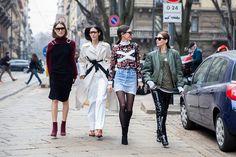 Giulia Tordini Gilda Ambrosio Diletta Bonaiuti and Chiara Capitani after the Sportmax show during the Milan Fashion Week Fall/Winter 2016/17 on...