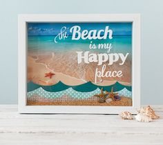 """Beach Shadowbox  The Beach = Happy. Enough said.  My shadowbox is 9"""" x 11"""". Images are from the Cricut® Calligraphy Collection, Cricut® When I Was a Kid, Cricut® Mother's Day Coupon Book, Cricut® Crocs Rule digital cartridges and the Cricut® Quarter Note digital font.  ❤ Shanon  DIY, home decor, made with a Cricut Explore"""