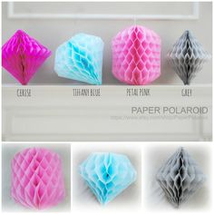 Geometric party gems hanging tissue decorations by PaperPolaroid
