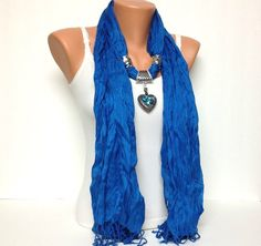 Royal blue Scarf  with jewelry
