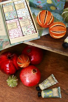 MORRIS & CO FRUITS Triple milled, vegetable-based soap bars enriched with shea butter and glycerin for gentle cleansing. Infused with essential oils of bergamot, mandarin and lemon, hand-wrapped with the 1864 Morris 'Fruit' design, bringing the library to life.