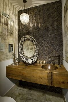 Eclectic Powder Room with Handmade 16-inch Round Bathroom Copper Sink with Curved Decorative Rim, stone tile floors, Mural