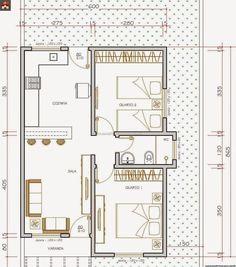 Projeto de Casas: Projeto de casas pequenas com 2 quartos