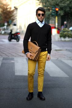 real men can carry off the colored pant this year