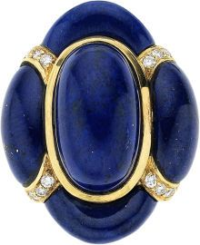 Lapis Lazuli, Diamond, Gold Ring