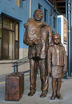 Kindertransport statue in Prague; cousin to Liverpool Street's memorial