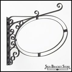 "Fixed Mount Sign Bracket | Wall Mount Oval Sign Frame w/ Scroll 36"" x 24"" 