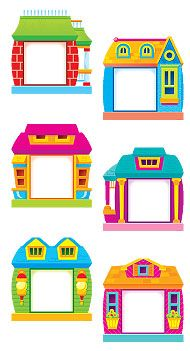 Year 'Round Houses (Owl-Stars!™) Classic Accents® Variety Pack | TRENDenterprises.com Owl Classroom, Classroom Labels, Classroom Decor, Frame Border Design, Page Borders Design, School Board Decoration, School Frame, Islam For Kids, School Labels