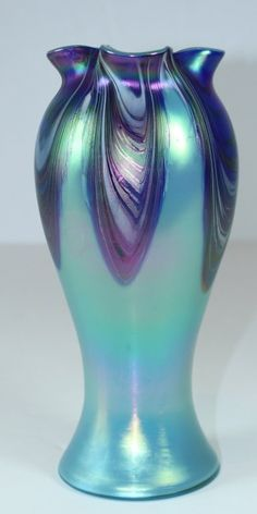 Rindskopf Iridescent Pale Blue Pulled Feather Vase, 9.5in tall.