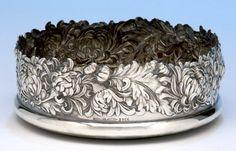 Detail of Shiebler 'Chrysanthemum' Sterling Silver Wine Coasters, c. 1890's