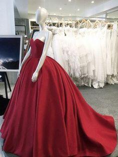 Burgundy Wedding Dresses,Ball Gowns Wedding Dresses,Satin Wedding Gowns,Wedding