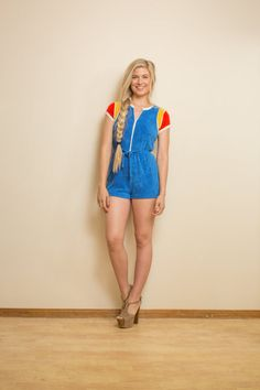 70s romper Vintage 1970s TERRY CLOTH blue rainbow by Raxclothing