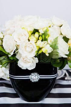 Check out this elegant black and white wedding theme. This article features tons of black and white wedding ideas and also incorporates pops of color and glam in the decorations, flowers, attire, and more. Floral Wedding, Wedding Colors, Wedding Day, Black And White Wedding Theme, Petal Pushers, Crystal Brooch, Wedding Reception Decorations, Clever Diy, Color Themes