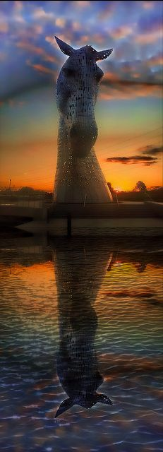 The Kelpies, Scotland - the Kelpies are 30-metre high horse-head sculptures, standing next to a new extension to the Forth and Clyde Canal in the Helix. More