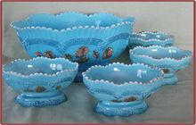 Northwood Blue Custard Glass Chrysanthemum Sprig Berry Bowl Set (On sale Aug 4th and 5th!)