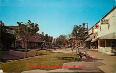 A 1972 postcard of the Golden Mall in Burbank, California.