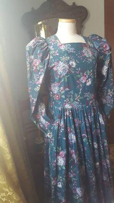 fc53ae0c6c 80s Laura Ashley Corduroy Teal Floral Dress