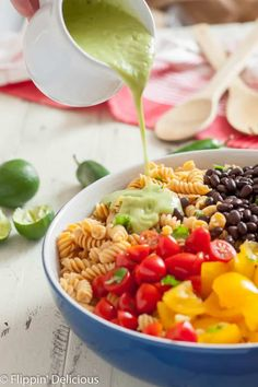 Gluten Free Southwest Pasta Salad has a kick you won't get from a regular Pasta Salad. Perfect for you next cook-out! | Flippin Delicious | Best Gluten Free Recipes, Gluten Free Recipes For Dinner, Allergy Free Recipes, Gluten Free Pasta, Dinner Recipes, Healthy Recipes, Lactose Free, Delicious Recipes, Healthy Foods