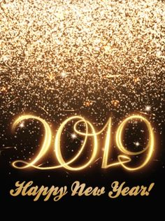 golden glitter happy new year card 2019