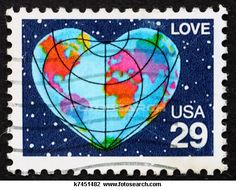 a stamp printed in the United States of America shows planet Earth in form of heart and word love, circa 1991