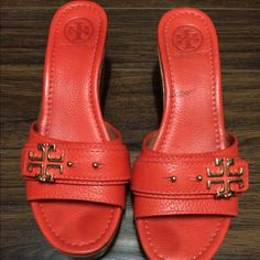 Tory Burch Elina wedge sandal habanero pepper  tory sandal in excellent condition. Gold tory hardware. Worn only a few times. Red wine stain on the footbed of the left shoe. Tory Burch Shoes Wedges