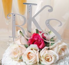 Swarovski Crystal Large Cake Top Letters | Letter Cake Toppers | Monogram Cake Toppers