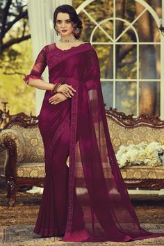 Online Shopping of Purple Color Fancy Party Style Georgette Fabric Saree With Embroidered Blouse from SareesBazaar, leading online ethnic clothing store offering latest collection of sarees, salwar suits, lehengas & kurtis Party Wear Dresses, Bridal Dresses, Casual Dresses, Georgette Fabric, Georgette Sarees, Saree Blouse, Sari, Party Wear Sarees Online, Net Blouses