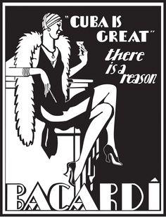 1930's Bacardi Art Deco Advertising, Cuba