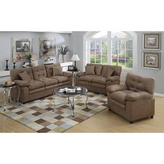 A&J Homes Studio Halifax 3 Piece Living Room Set Color: Light brown