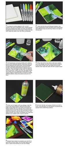 How to create Marker Painted Coasters - Create colorful one-of-a-kind coasters using glazed tiles, Sharpie markers, and rubbing alcohol. They're great to give as gifts or frame as original works of art!