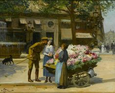 Flower Seller, Avenue de l'Opera by Victor Gabriel Gilbert (French painter, Martin Johnson, Cleveland Museum Of Art, Old Paris, Impressionist Paintings, Art Themes, Flower Market, Still Life Photography, Art Techniques, All Art